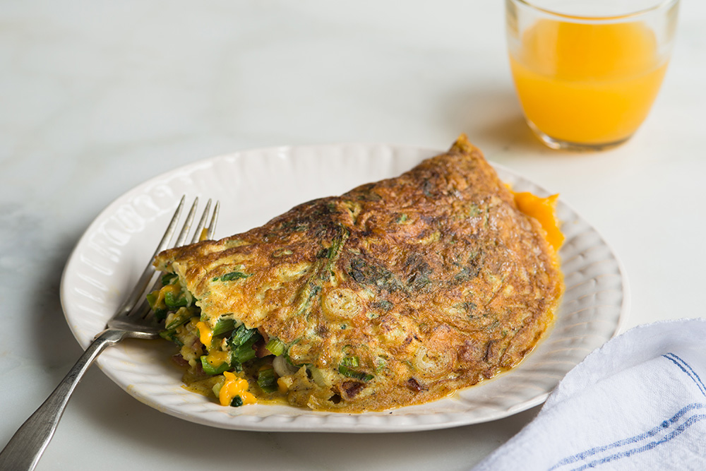 Broccoli Rabe Omelette with Bacon and Cheddar