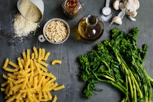 ingredients-pasta-broccoli-rabe-pesto-pecorino-andy-boy