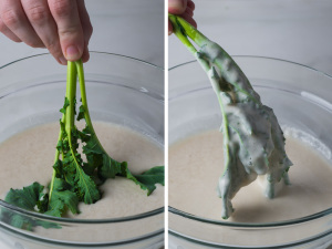 dipping-broccoli-rabe-in-batter-andy-boy