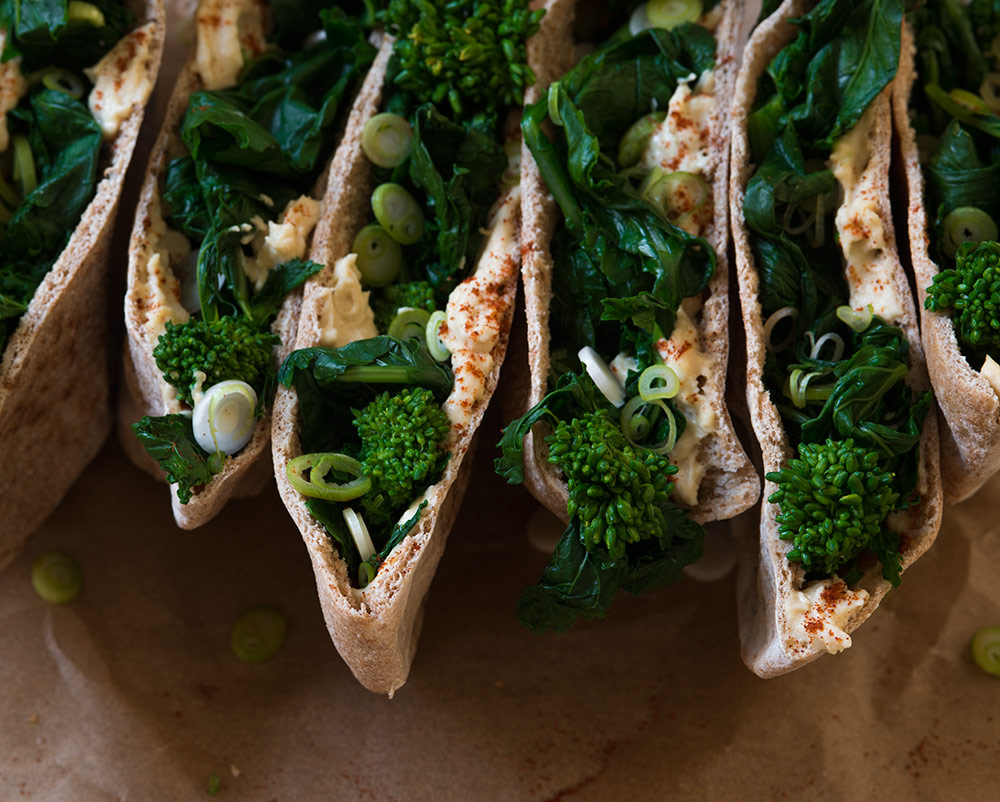 Pita Pockets with Broccoli Rabe and Hummus