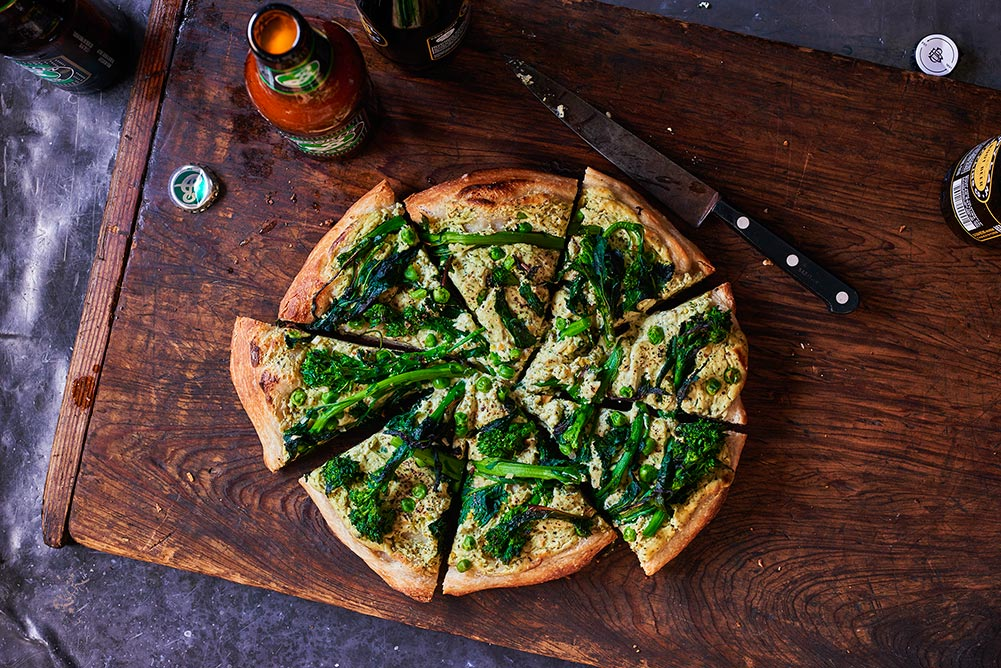 Broccoli Rabe Green Ricotta Skillet Pizza