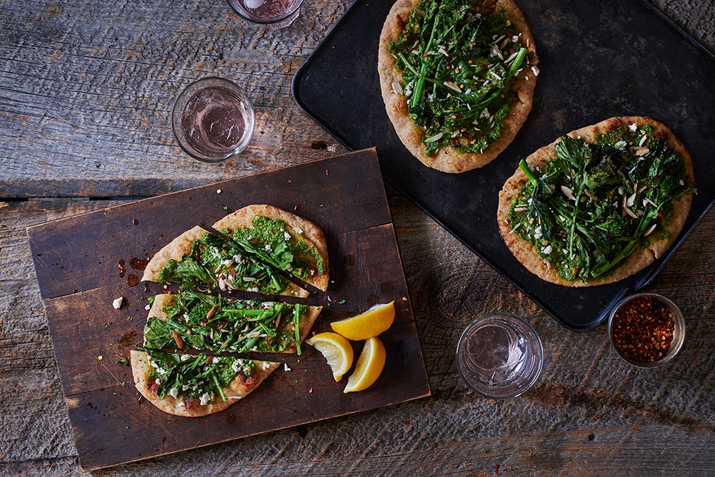 Roasted Broccoli Rabe and Pesto Flatbread
