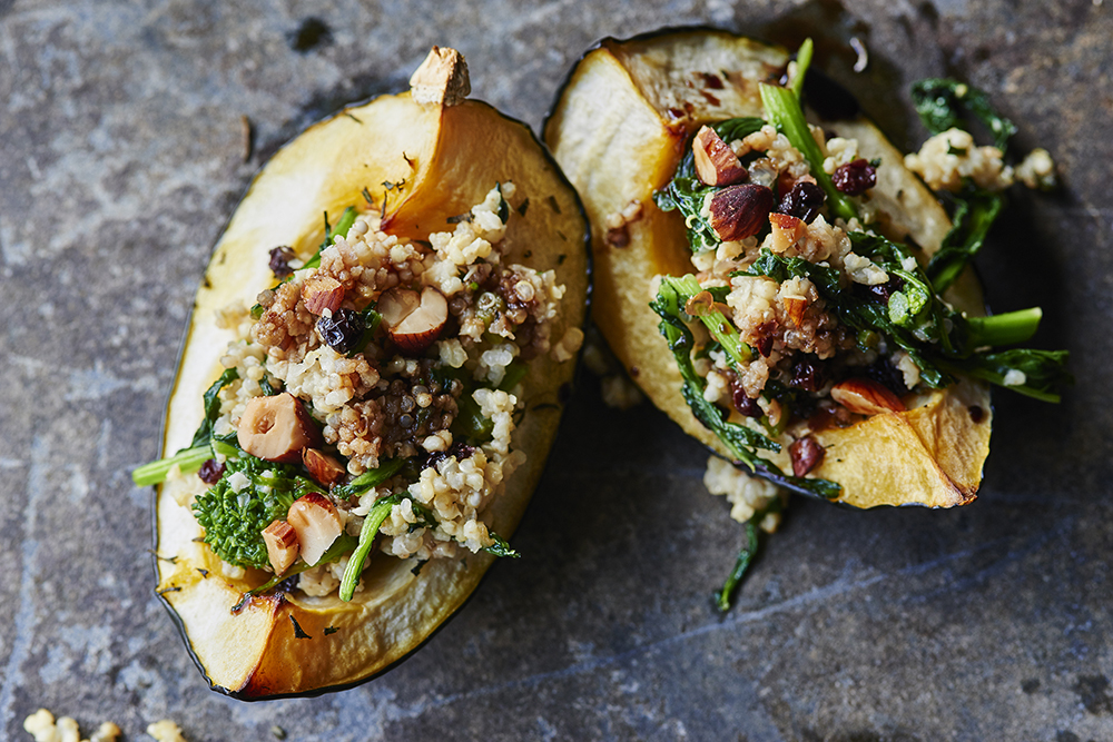 Squash with Broccoli Rabe and Quinoa Stuffing