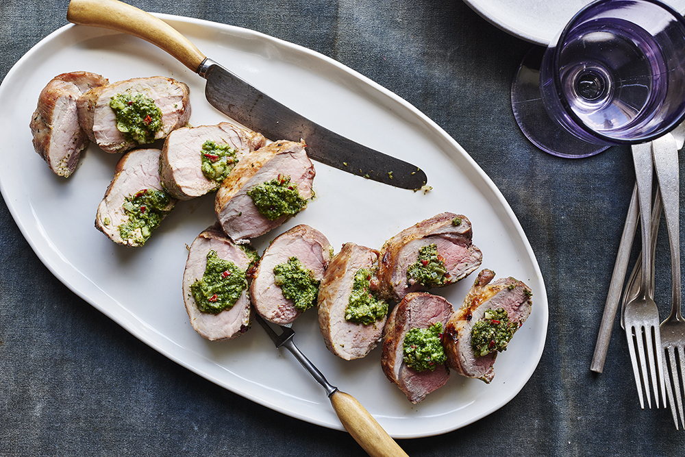 Broccoli Rabe Stuffed Pork Tenderloin