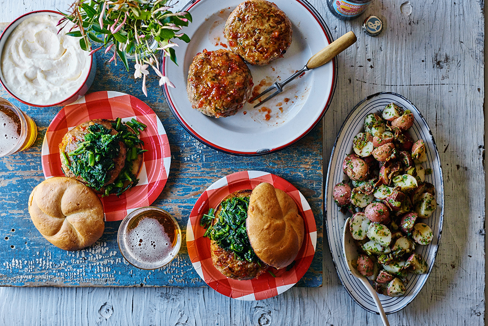 Glazed Chicken Burgers with Garlicky Broccoli Rabe and Lemon Mayo