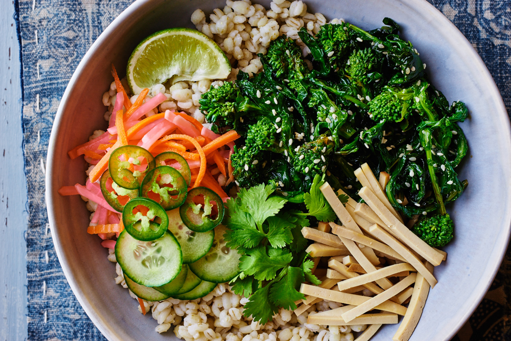 Seared Sesame Broccoli Rabe Banh Mi Barley Bowls