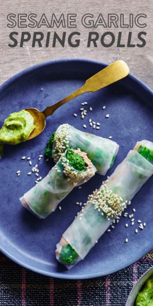 sesame-garlic-broccoli-rabe-spring-rolls