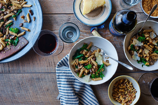 shiitake-penne-pasta-with-broccoli-rabe