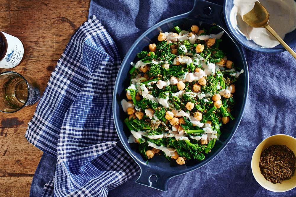 Braised Broccoli Rabe with Chickpeas and Tahini