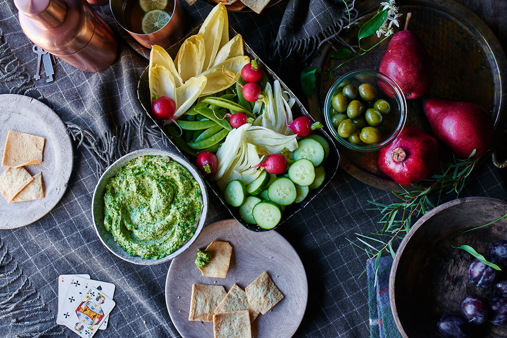 Broccoli Rabe Pesto Hummus Dip