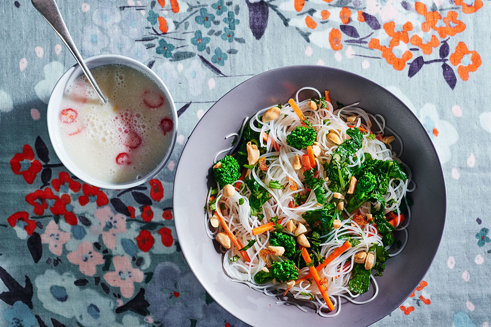 Rice Noodle Salad with Broccoli Rabe