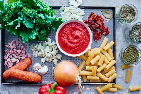 ingredients-broccoli-rabe-rigatoni-bake
