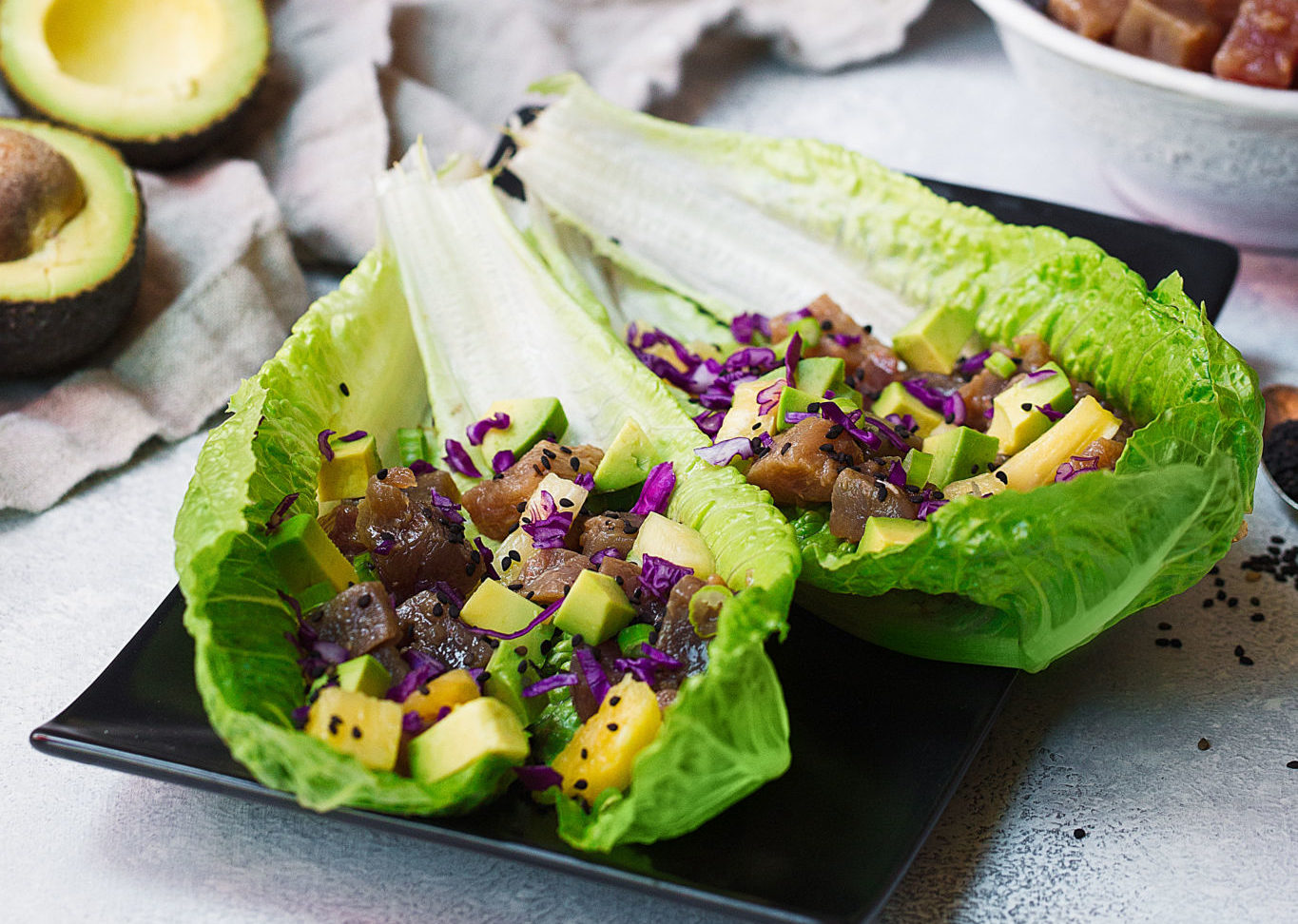Romaine Heart Poke Wraps