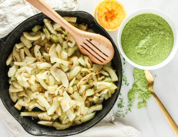 preparing-easy-sauteed-fennel-citrus-thyme-pesto-sauce