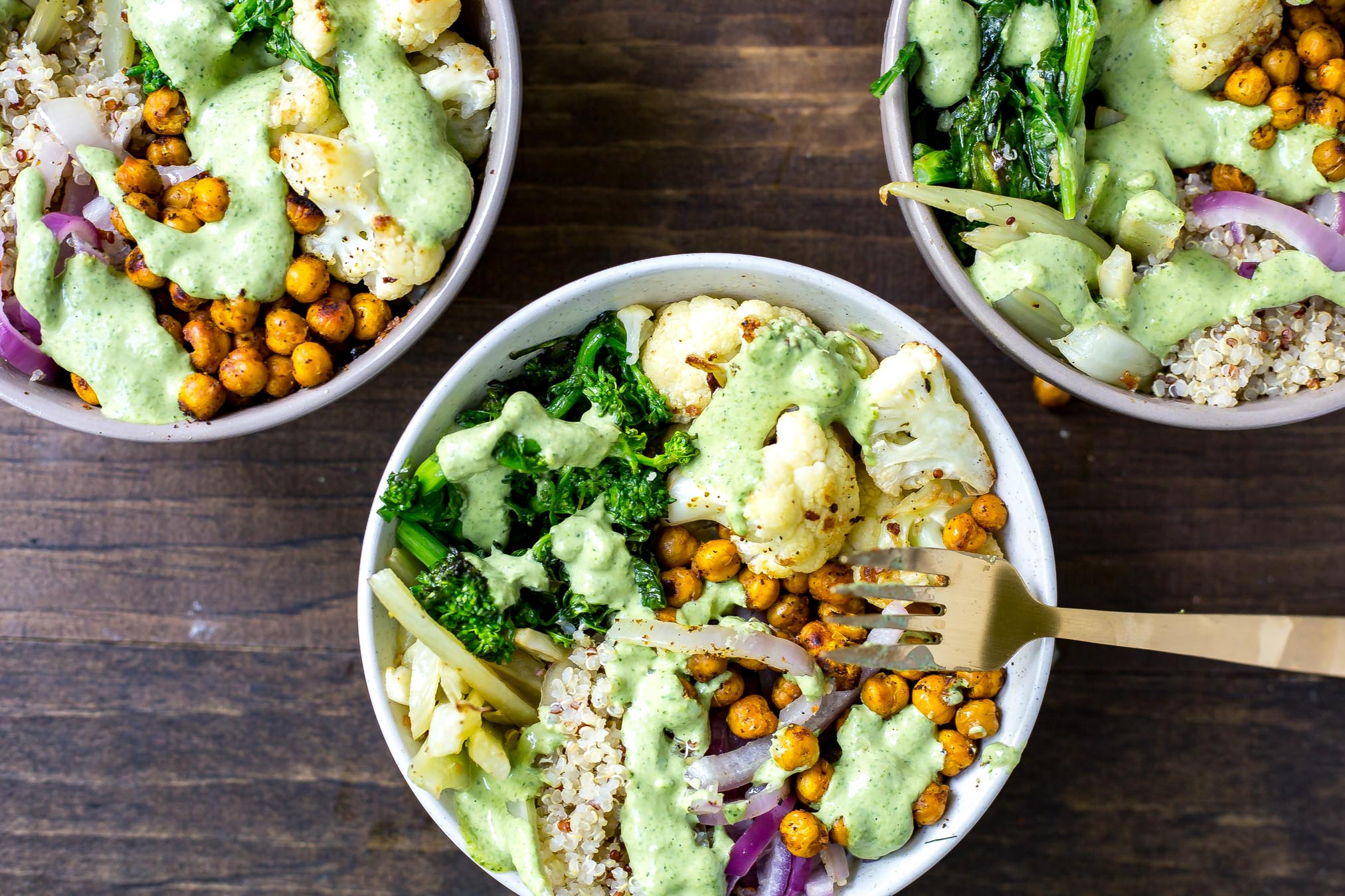 Broccoli Rabe Buddha Bowls with Cilantro Tahini Dressing