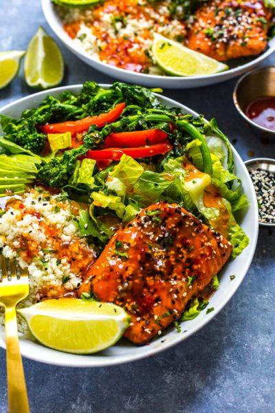 chili-lime-salmon-bowls-broccoli-rabe-cauliflower-rice