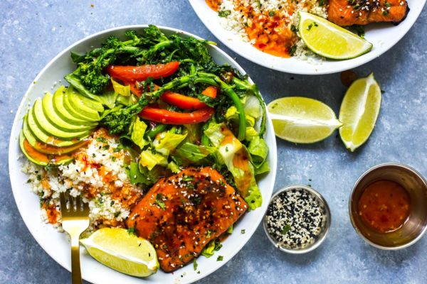 chili-lime-salmon-bowls-broccoli-rabe-cauliflower-rice