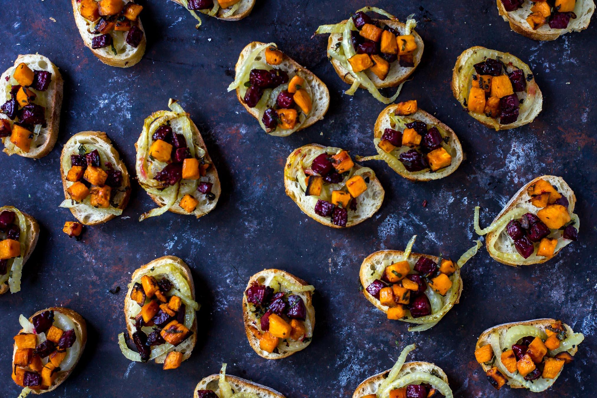 Beet, Fennel and Sweet Potato Crostini