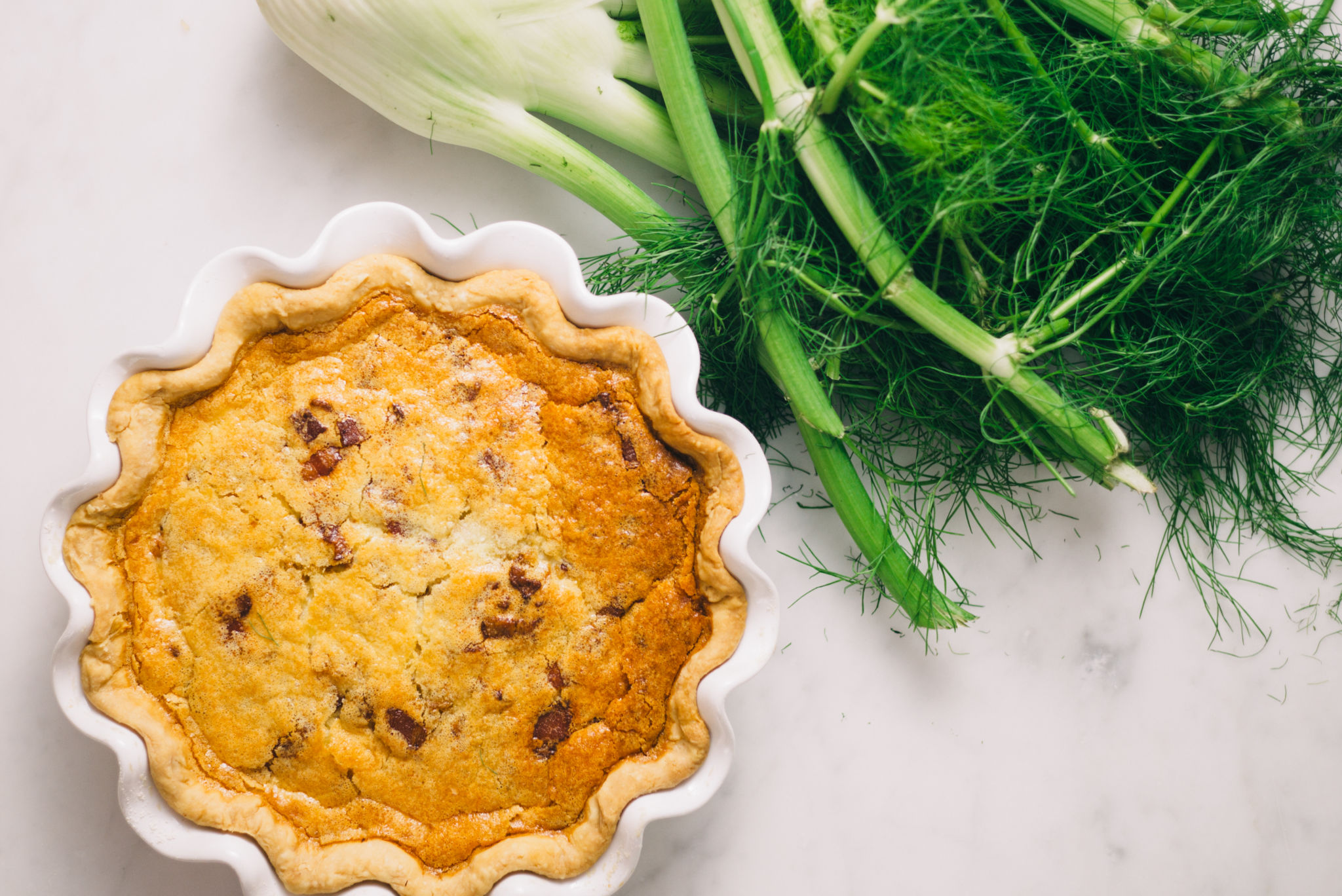 Caramelized Fennel and Bacon Quiche