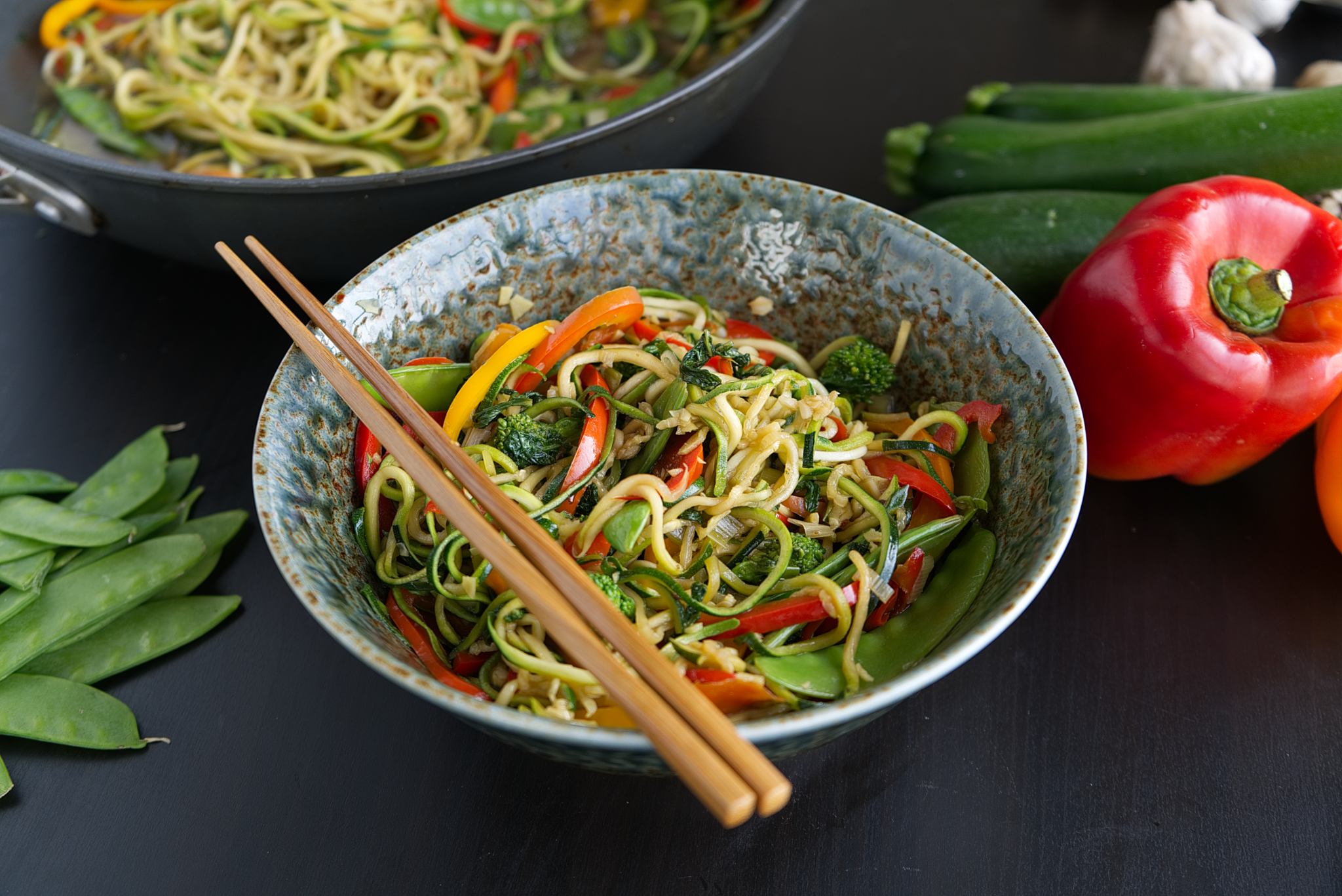 Veggie Zoodle Stir Fry with Broccoli Rabe
