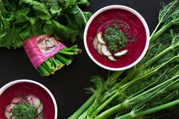 fennel-beet-gazpacho-broccoli-rabe-pesto-andy-boy