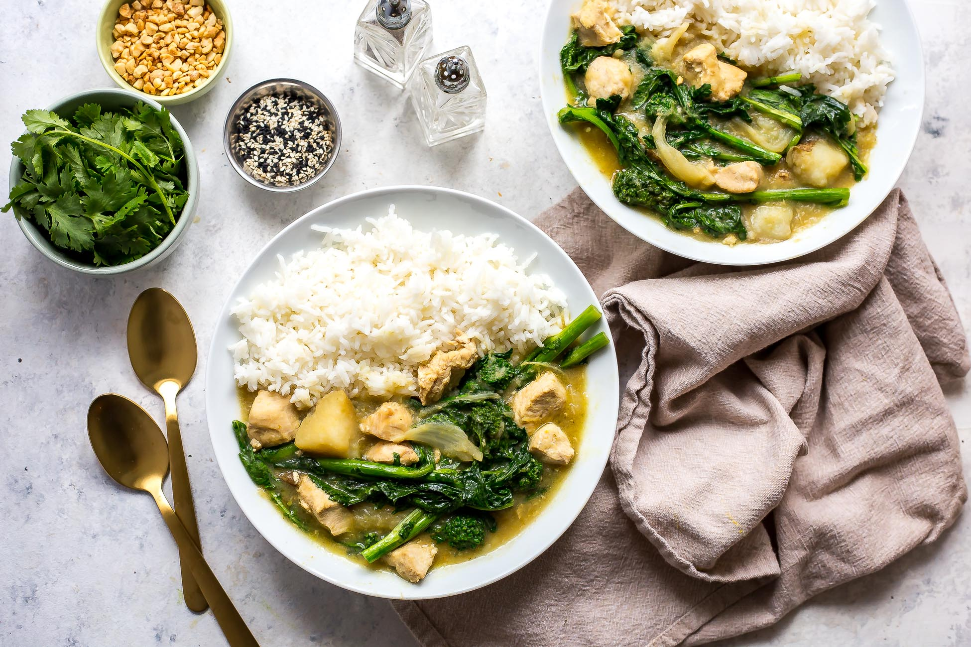 Instant Pot Thai Green Curry with Broccoli Rabe and Chicken