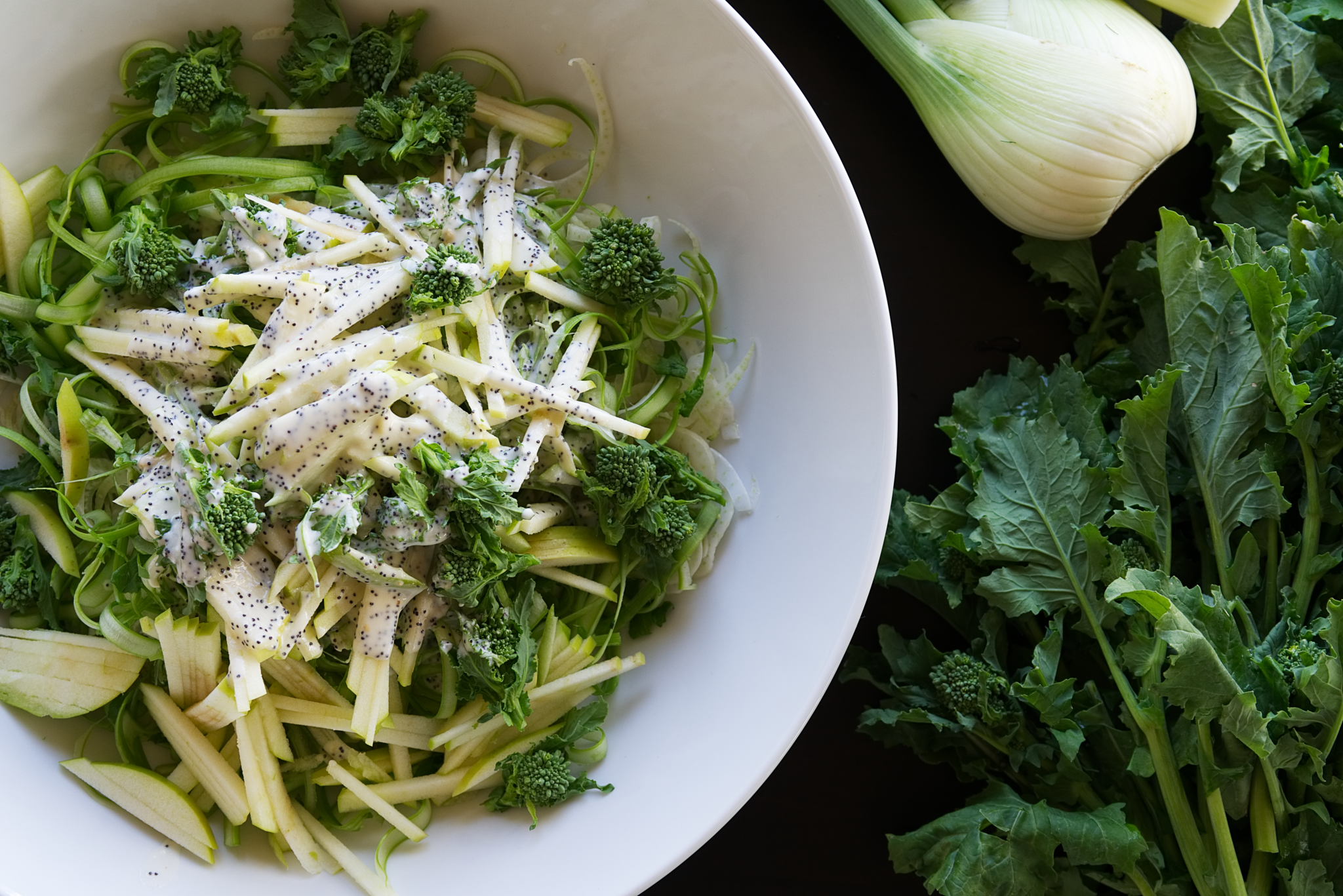 Broccoli Rabe, Fennel and Apple Slaw
