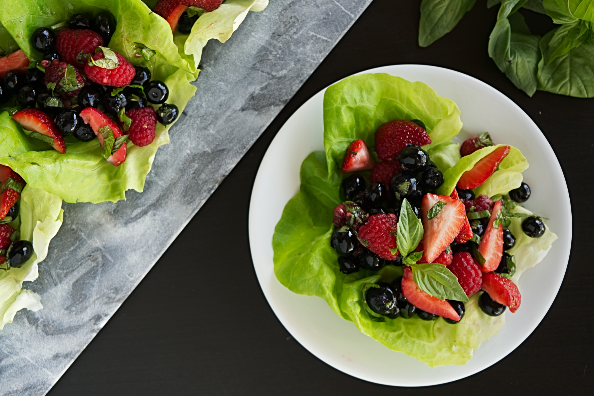 Mixed Berry Lettuce Cups with Limoncello Vinaigrette