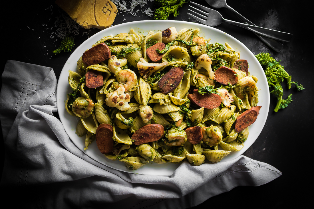 Spicy Veggie Sausage and Shrimp Pesto Conchiglie Salad with Broccoli Rabe