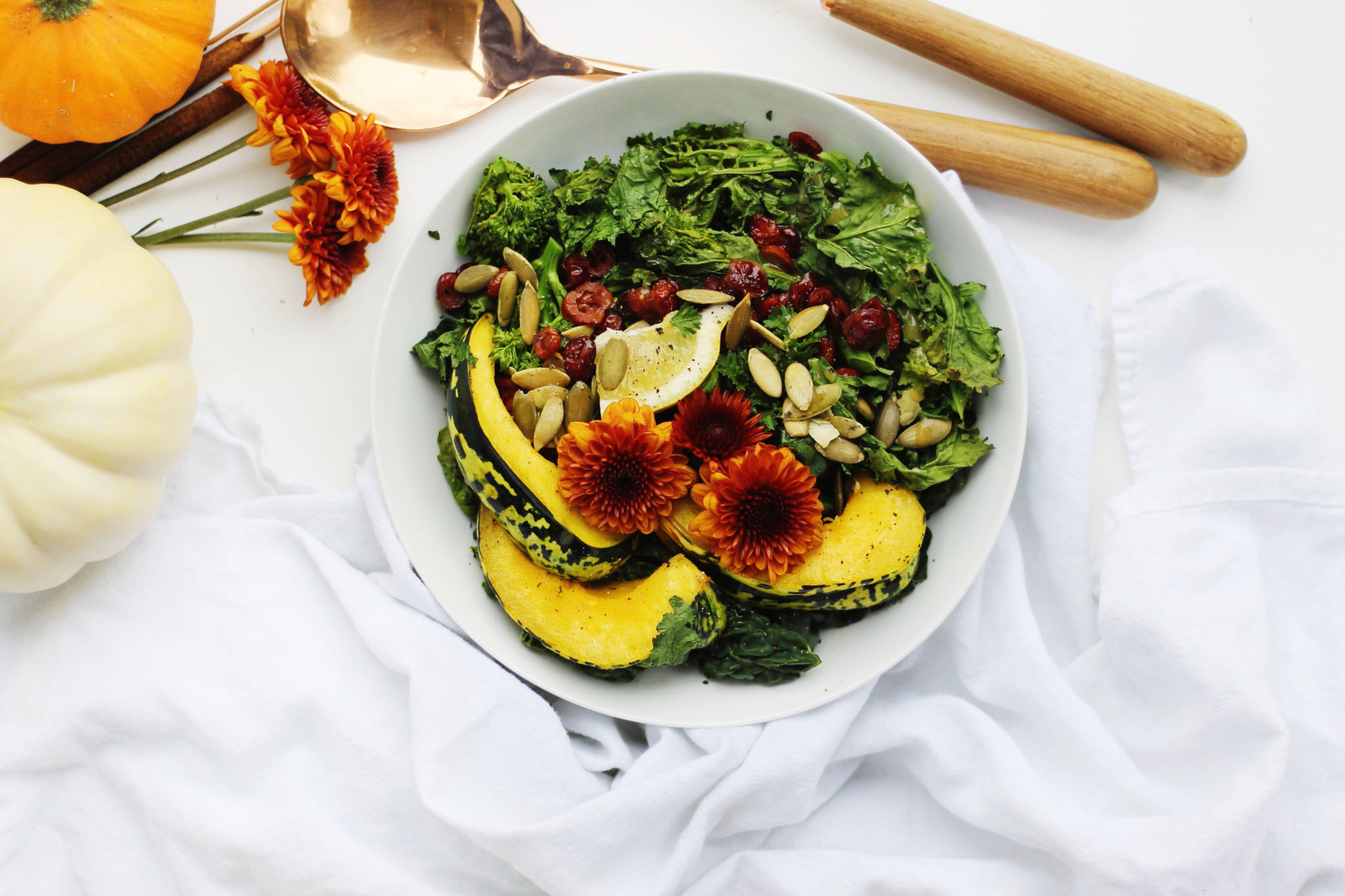 Roasted Squash Salad with Broccoli Rabe and Kale