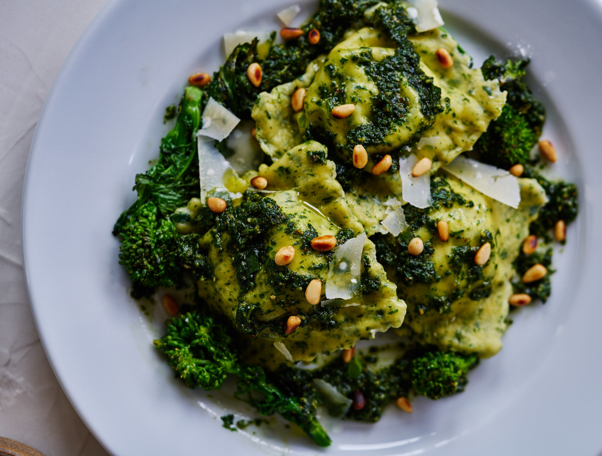 Broccoli Rabe Ravioli with Broccoli Rabe Pesto